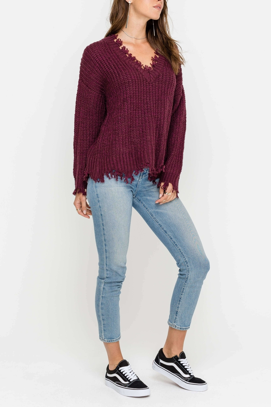 Lush Hem Destroyed Sweater - Front Cropped Image