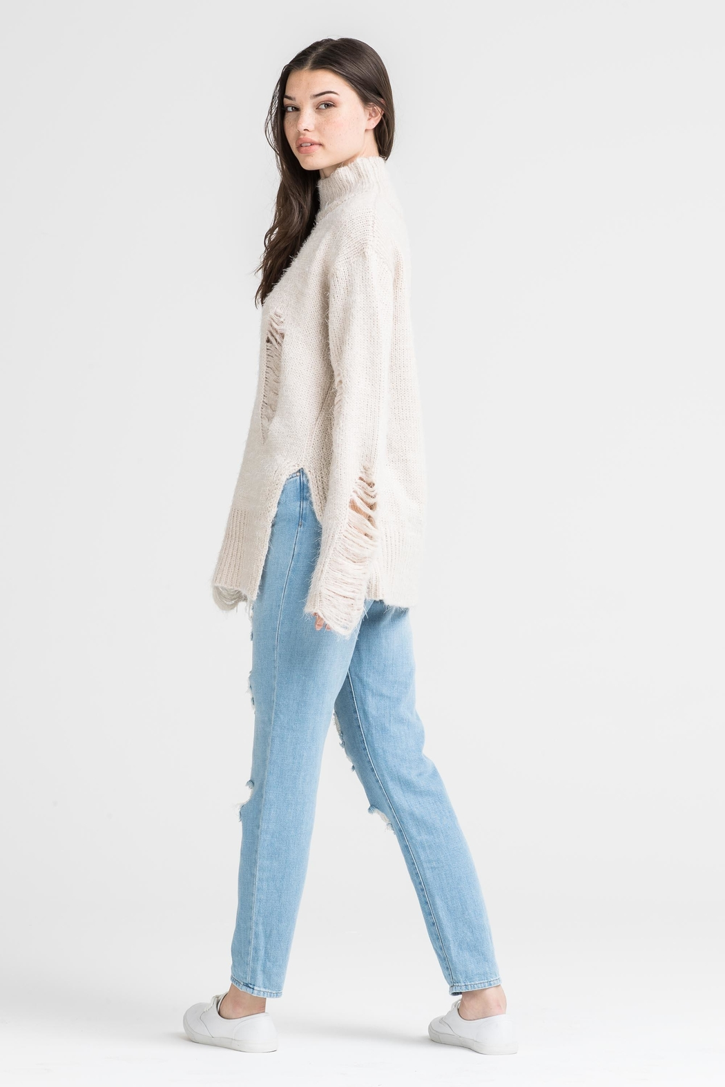 Lush High Neck Distressed Sweater - Side Cropped Image