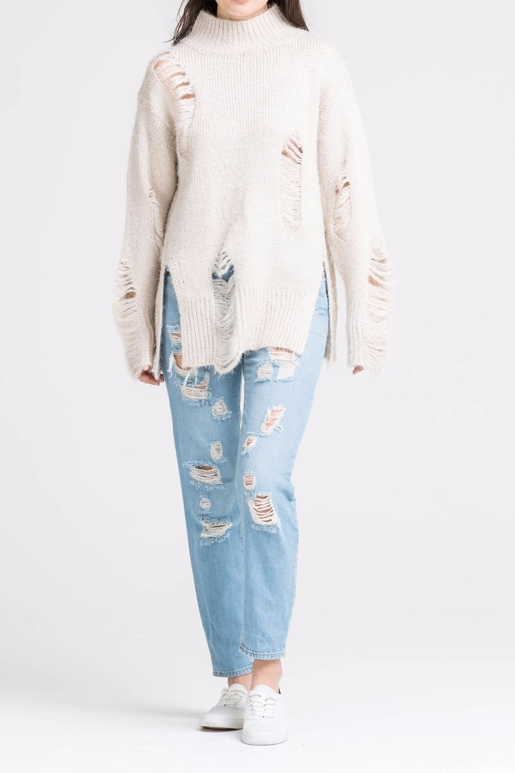 Lush High Neck Distressed Sweater - Main Image