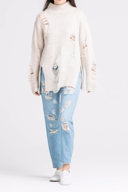 Lush High Neck Distressed Sweater - Front cropped