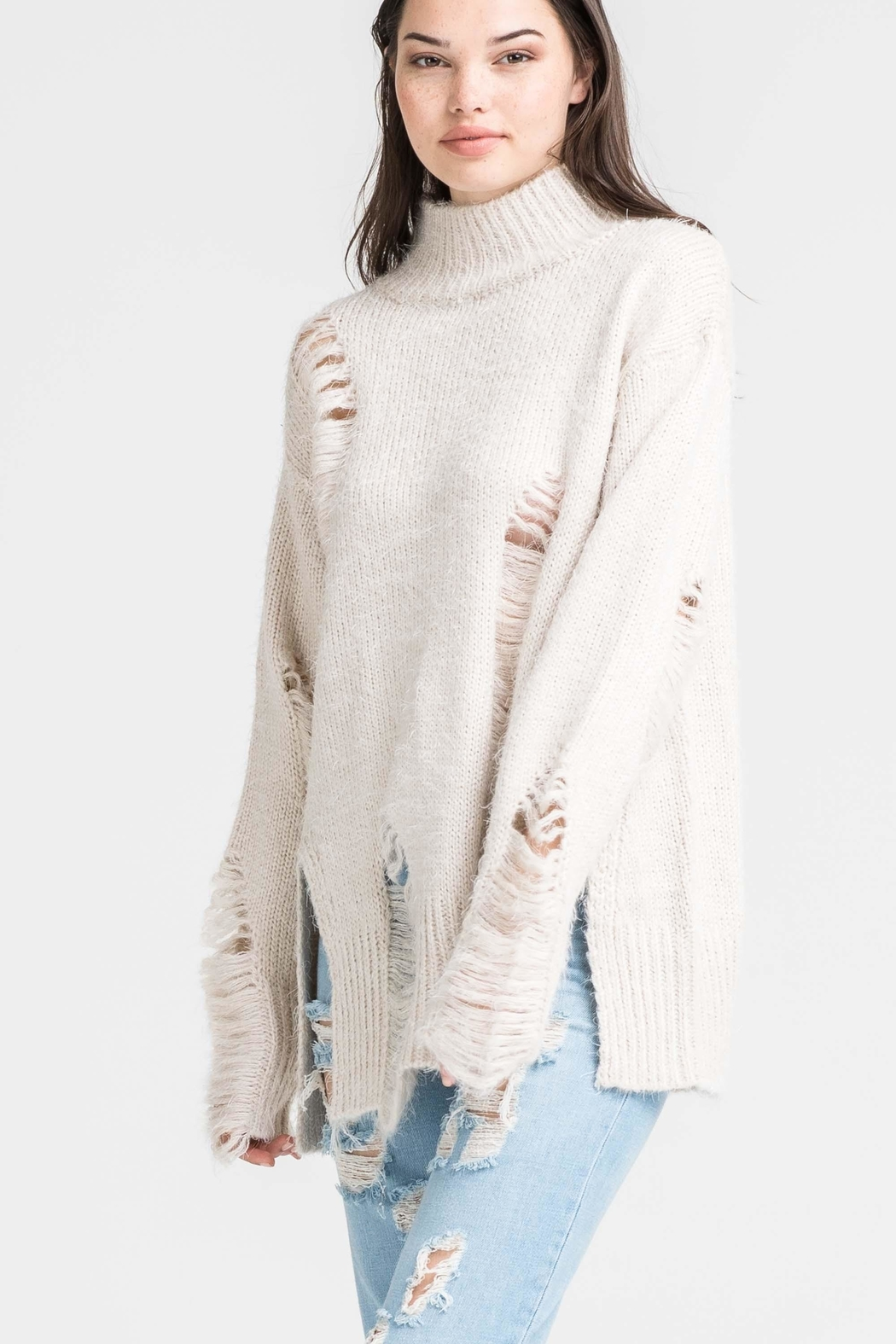 Lush High Neck Distressed Sweater - Front Full Image