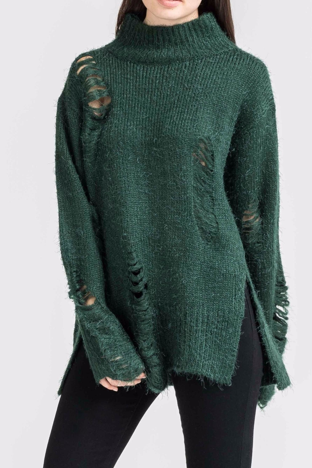 Lush High Neck Distressed Sweater - Front Cropped Image