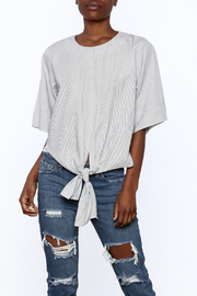 Lush White Pinstripe Knotted Top - Product Mini Image