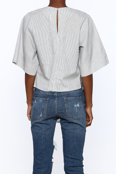 Lush White Pinstripe Knotted Top - Alternate List Image