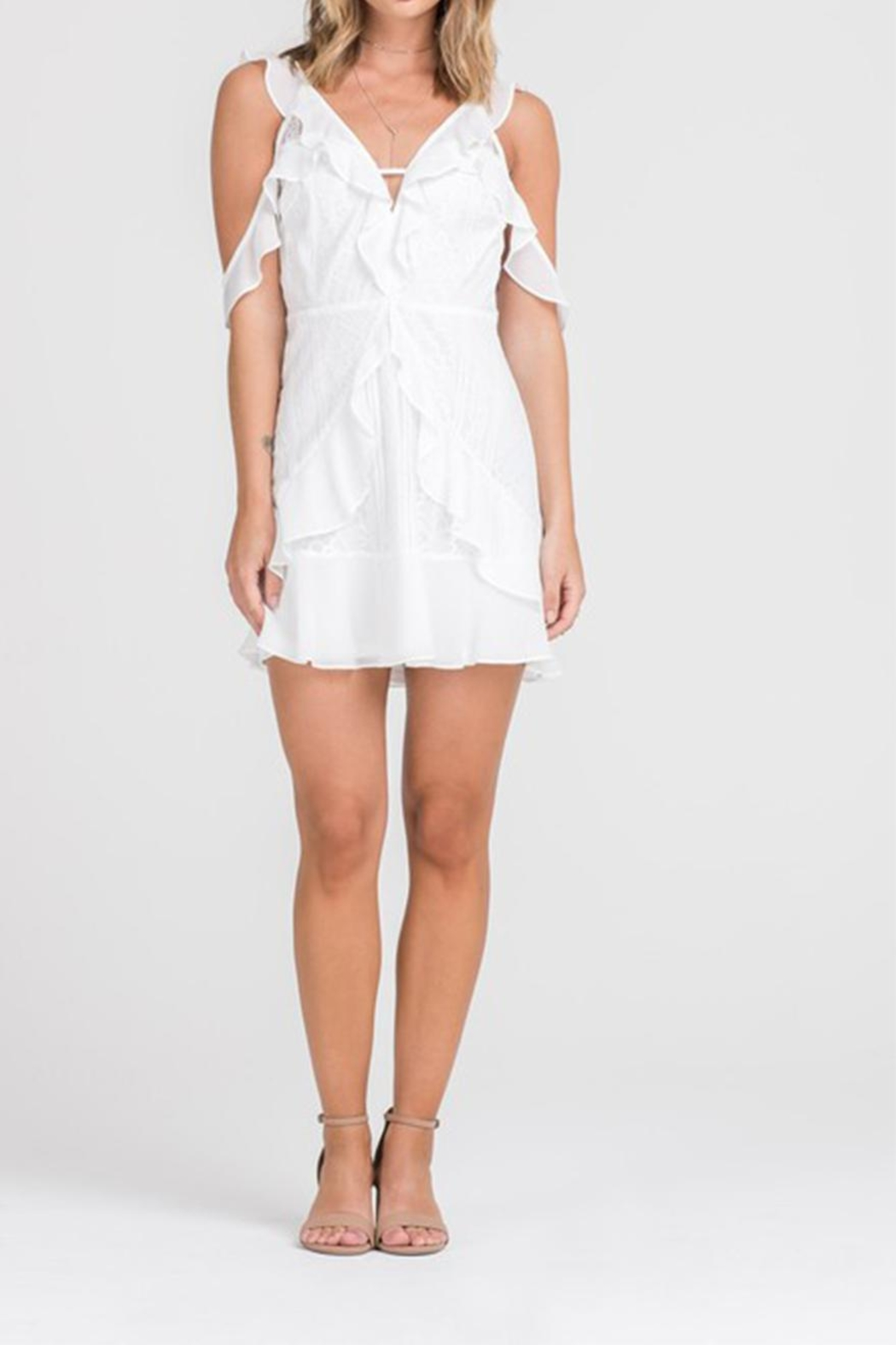 Lush Lace Button-Down Dress - Front Full Image