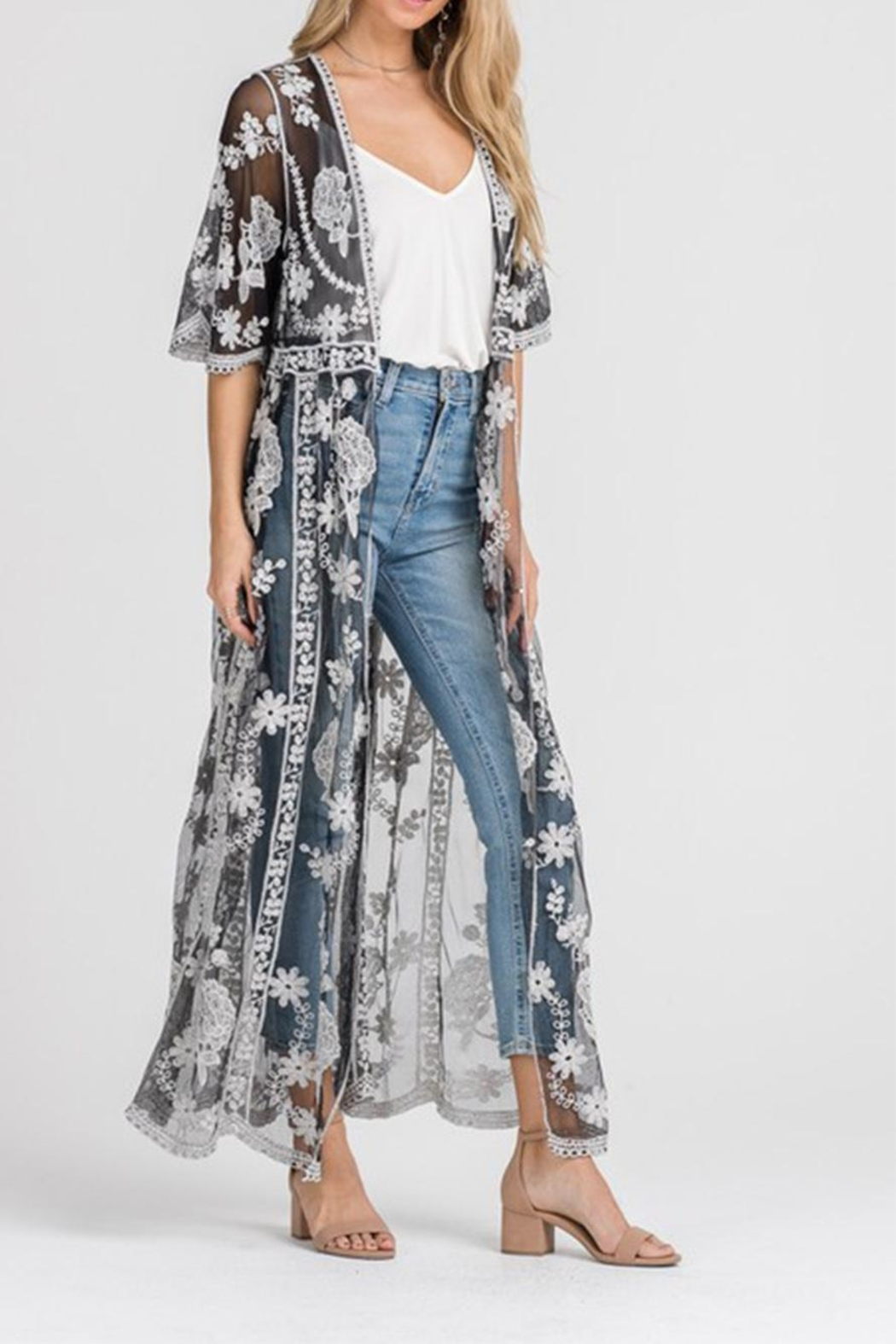 Lush Lace Embroidered Cardigan - Front Full Image