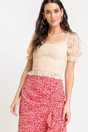 Lush Lace Smocked Top - Front cropped
