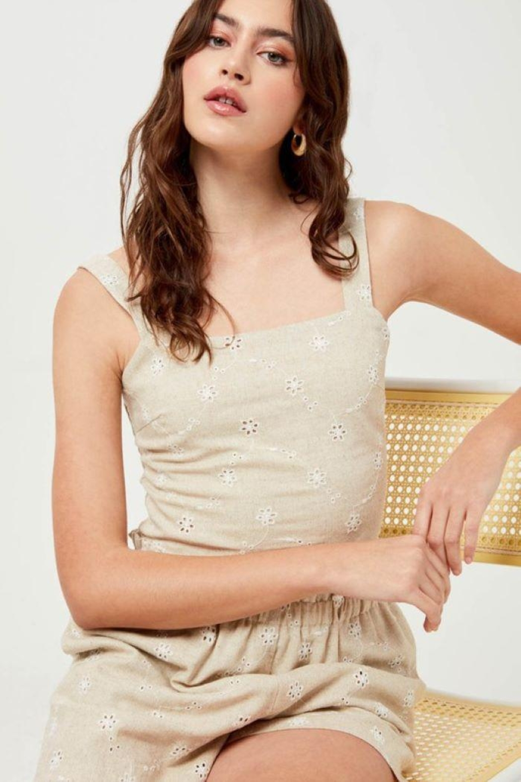 Lush Linen Floral Embroidered Crop Top - Front Full Image