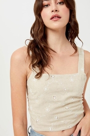 Lush Linen Floral Embroidered Crop Top - Product Mini Image