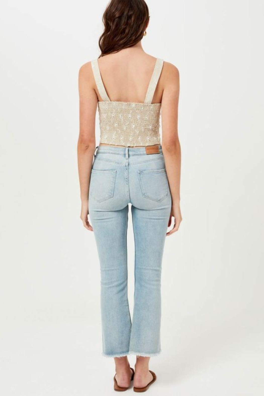 Lush Linen Floral Embroidered Crop Top - Back Cropped Image