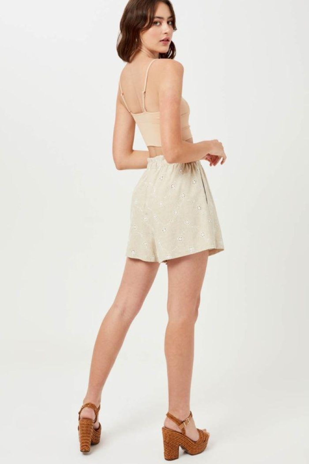 Lush Linen Floral Embroidered Shorts - Front Full Image