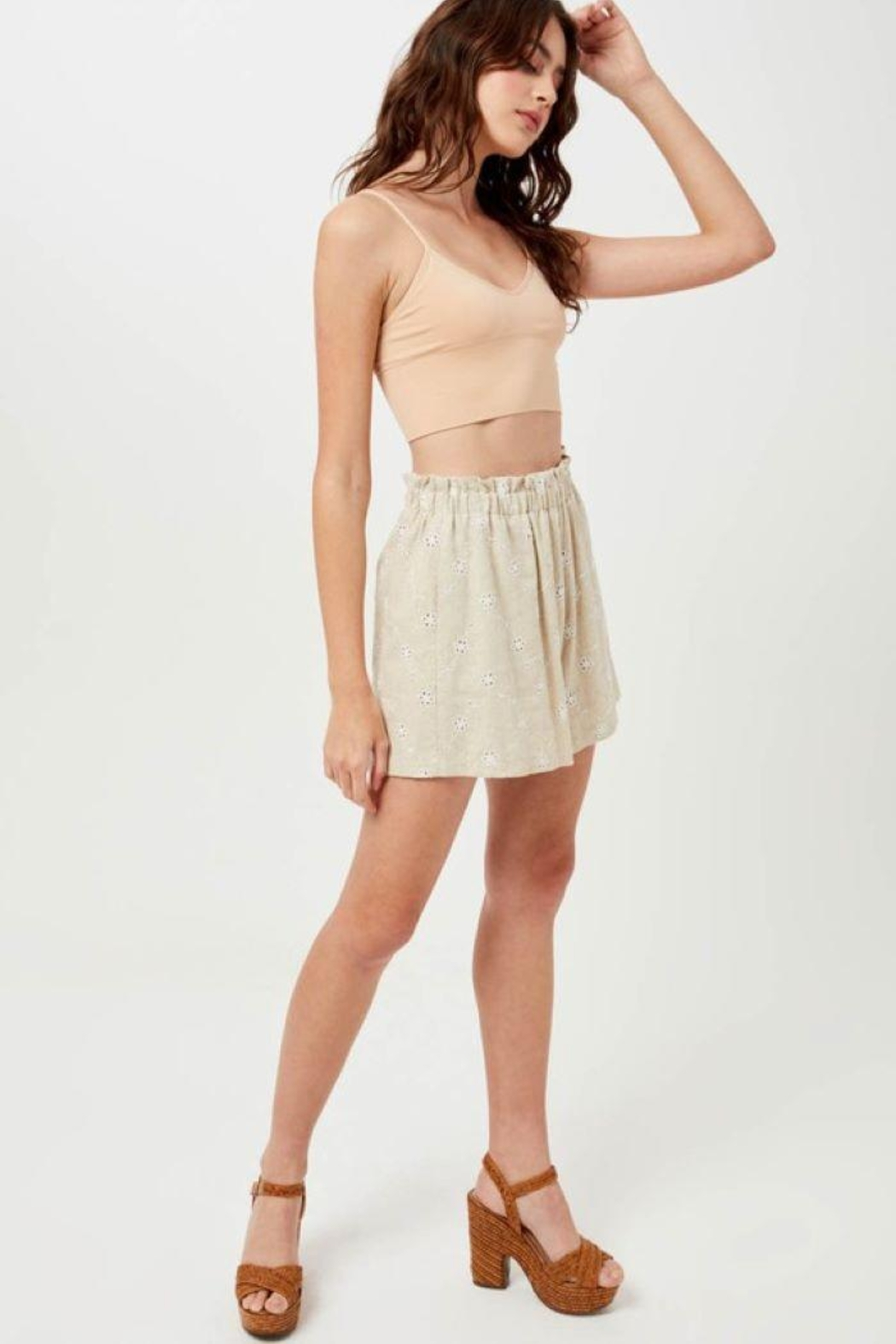 Lush Linen Floral Embroidered Shorts - Main Image