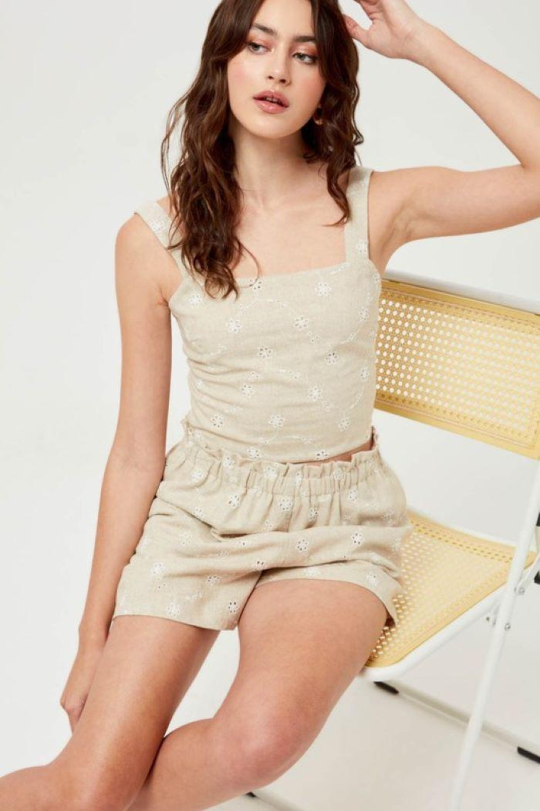 Lush Linen Floral Embroidered Shorts - Back Cropped Image