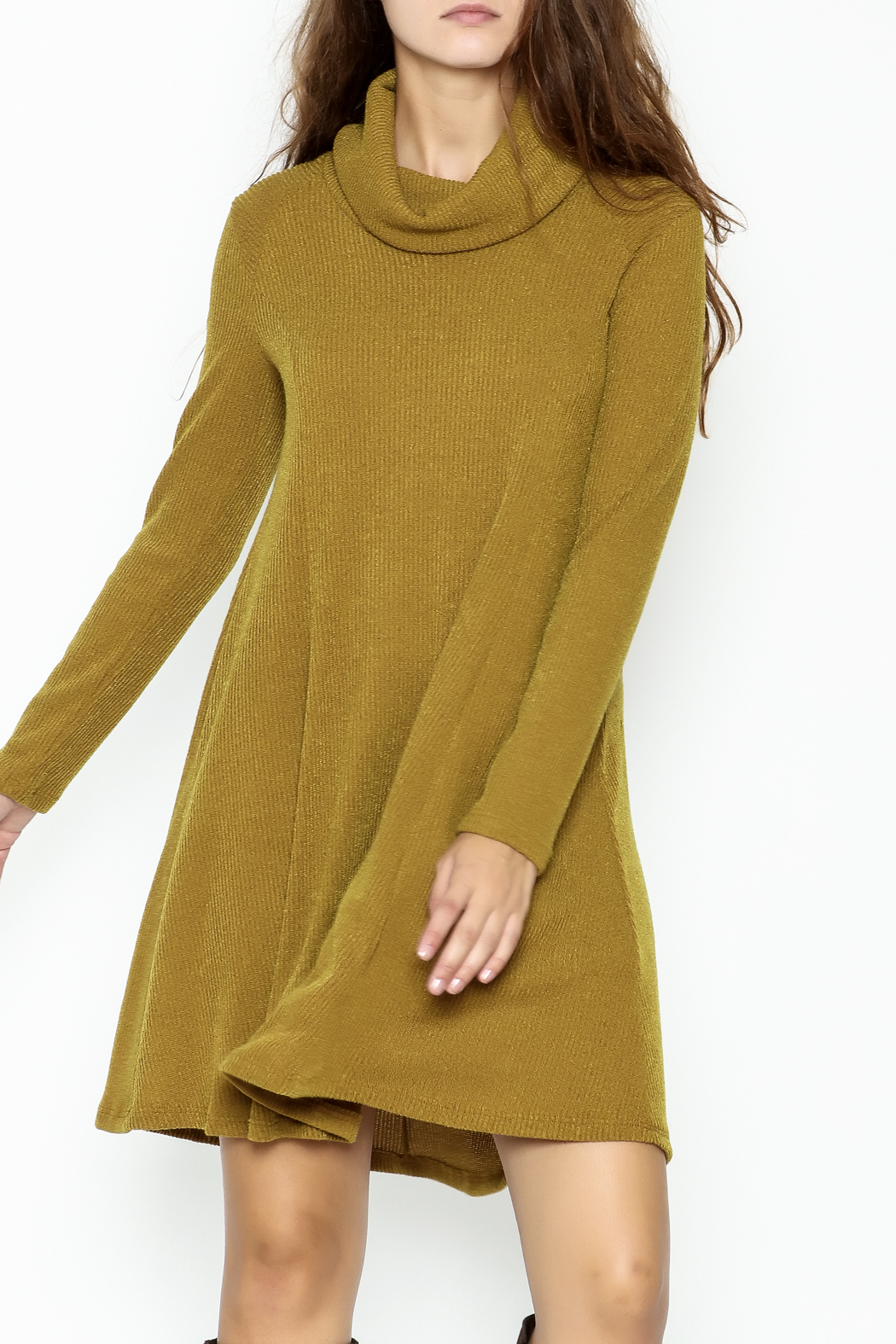 Lush Longsleeve Sweater Dress - Front Cropped Image