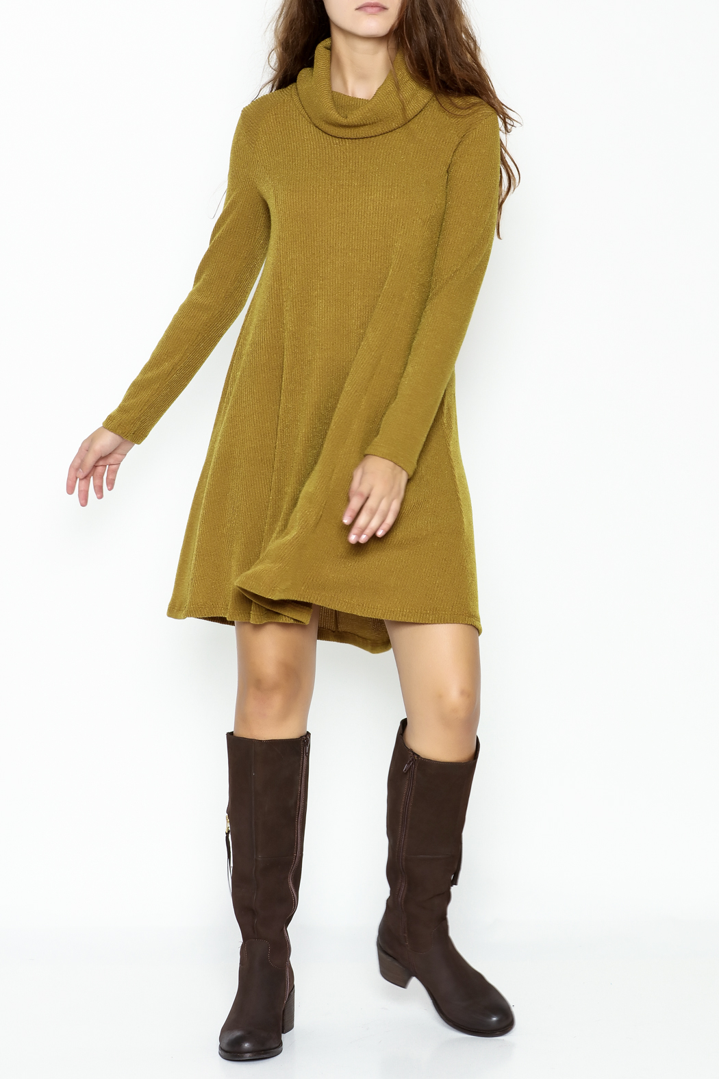 Lush Longsleeve Sweater Dress - Side Cropped Image