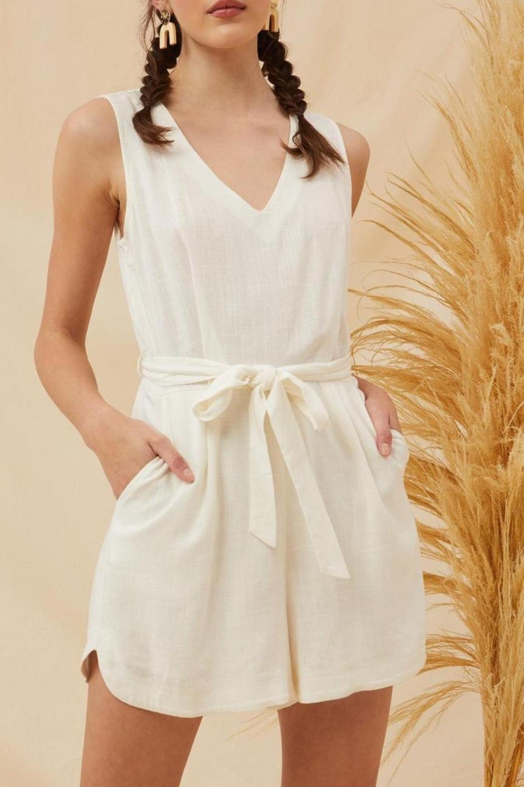 Lush Lorraine Linen Chic Ivory Tie Front Romper - Main Image