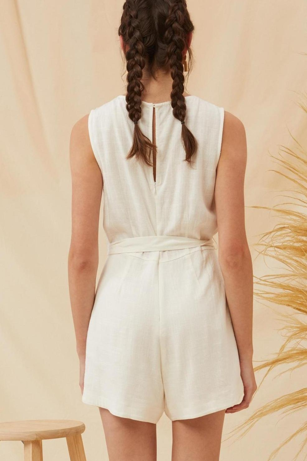Lush Lorraine Linen Chic Ivory Tie Front Romper - Front Full Image