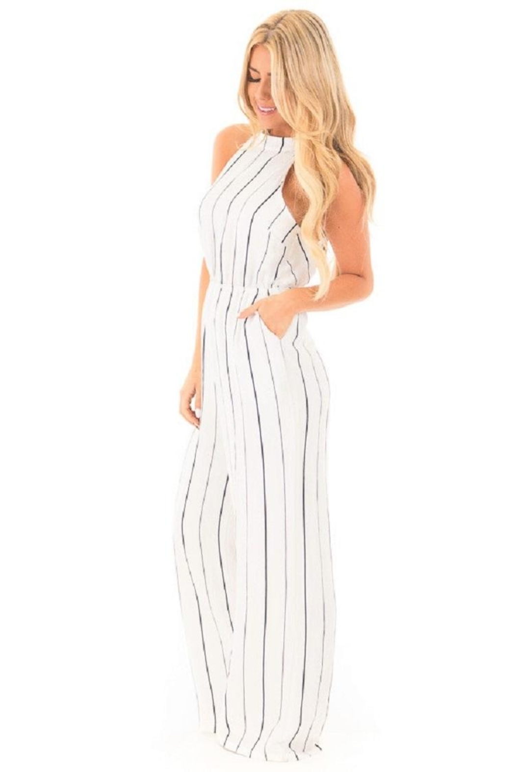 Lush Striped Jumpsuit - Front Cropped Image