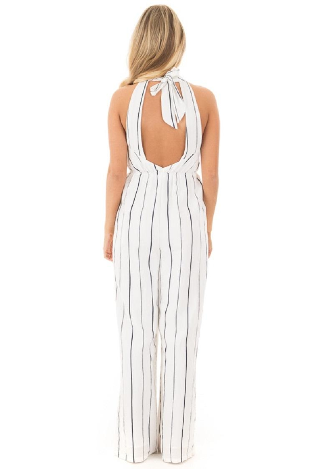 Lush Striped Jumpsuit - Back Cropped Image