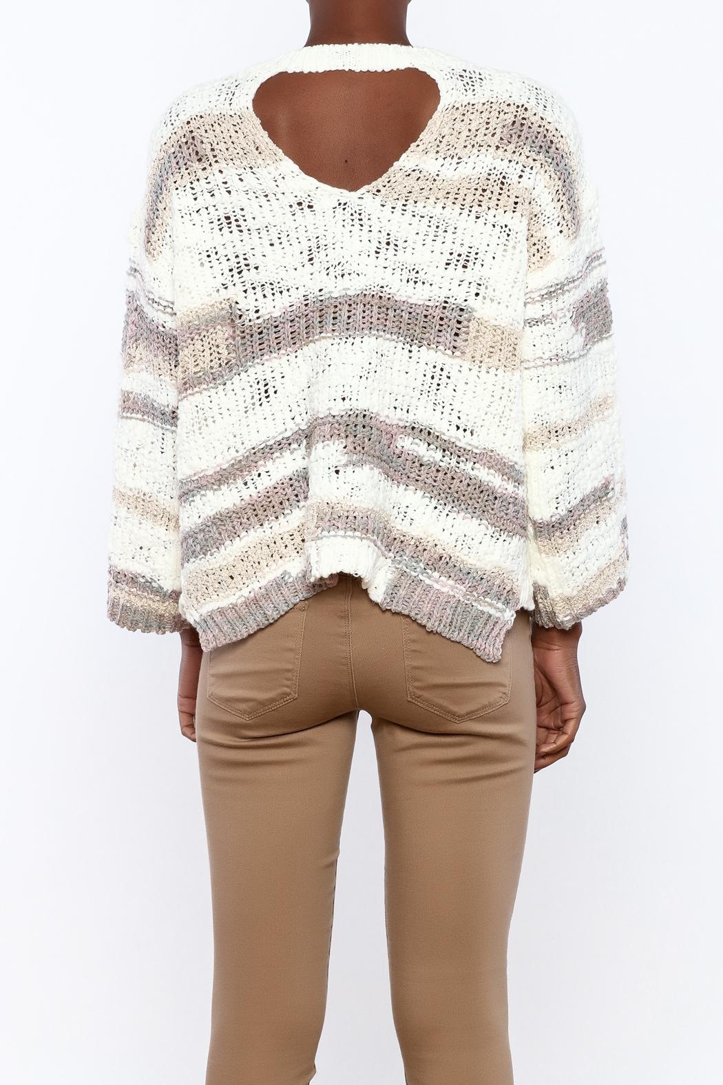 Lush Loose Knit Sweater - Back Cropped Image