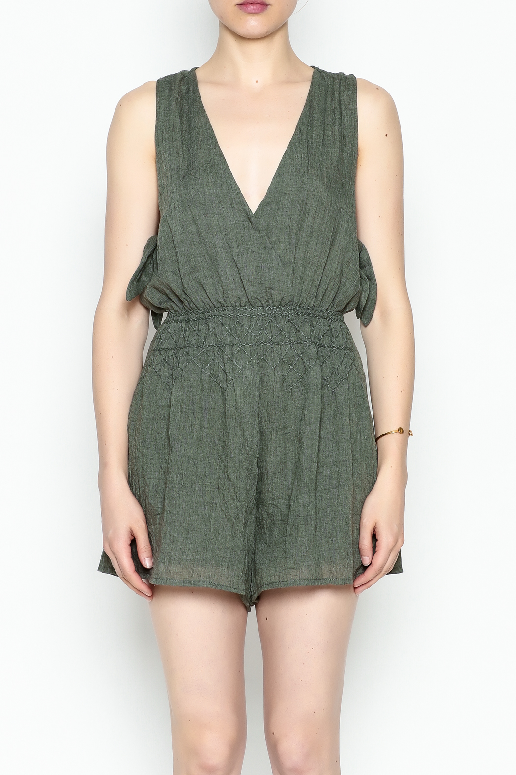 Lush Olive Green Romper - Front Cropped Image