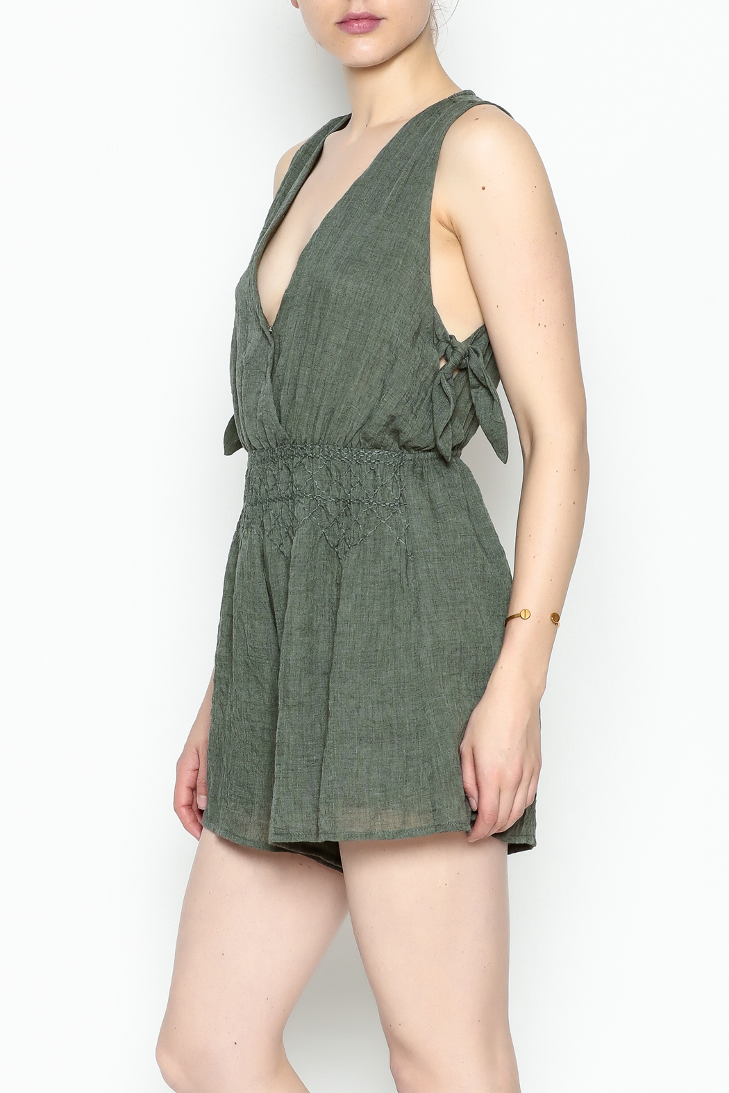Lush Olive Green Romper - Side Cropped Image