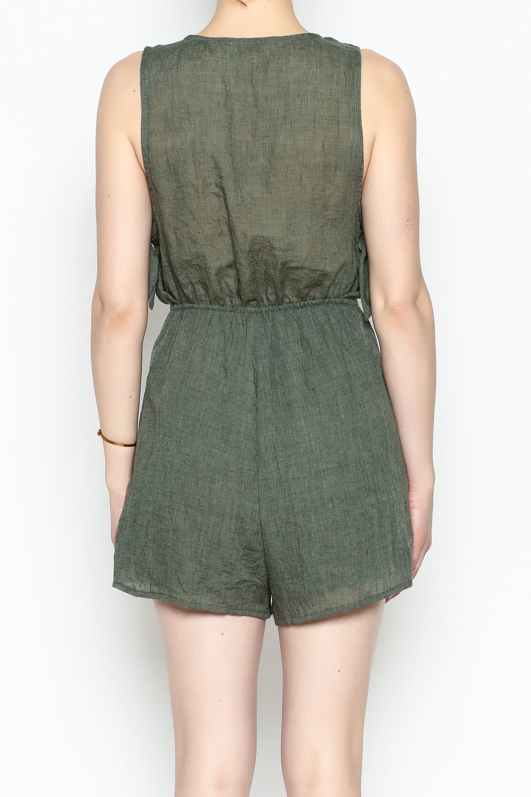 Lush Olive Green Romper - Back Cropped Image