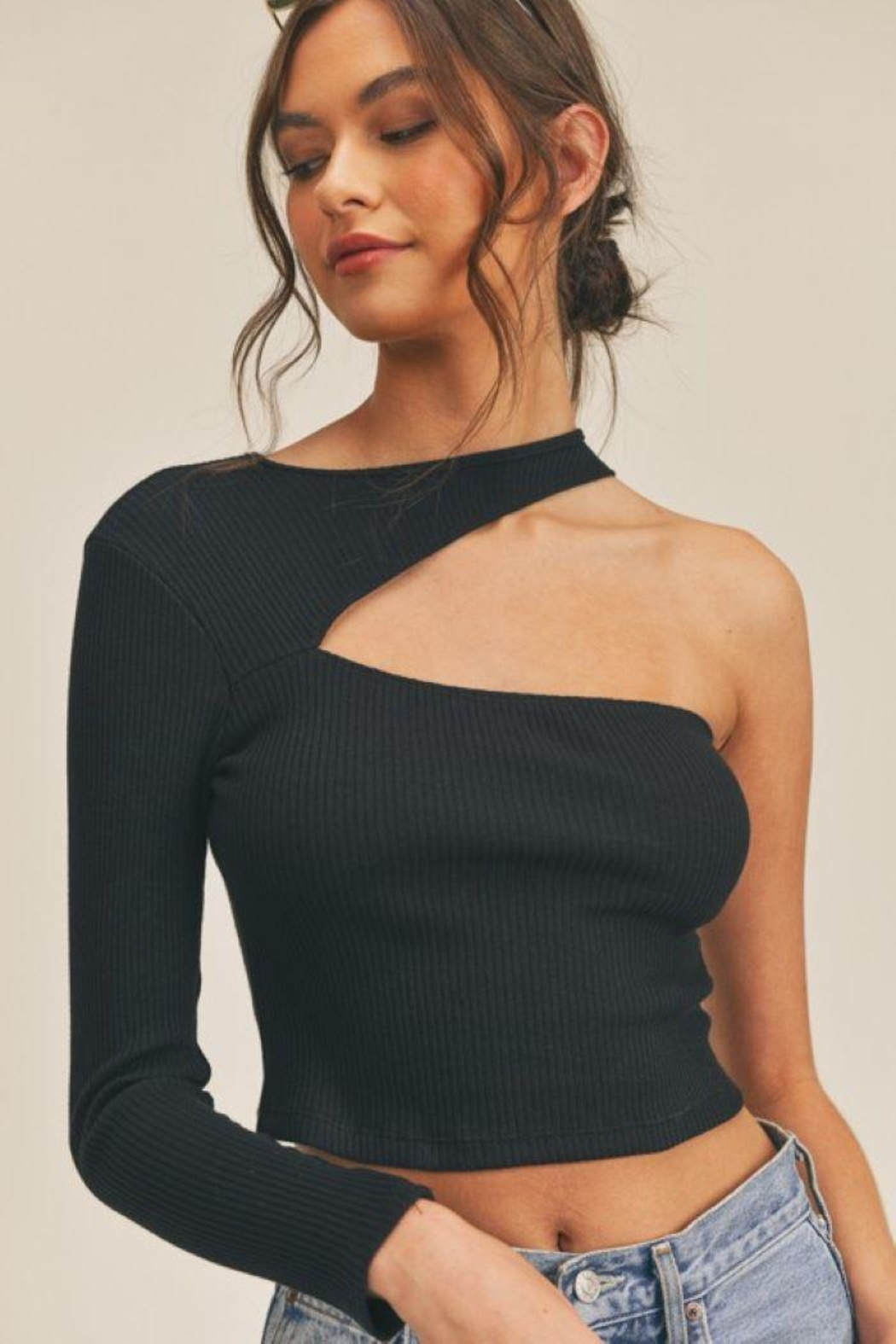 Lush One Shoulder Knit Top - Main Image