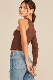 Lush One Shoulder Knit Top - Back cropped