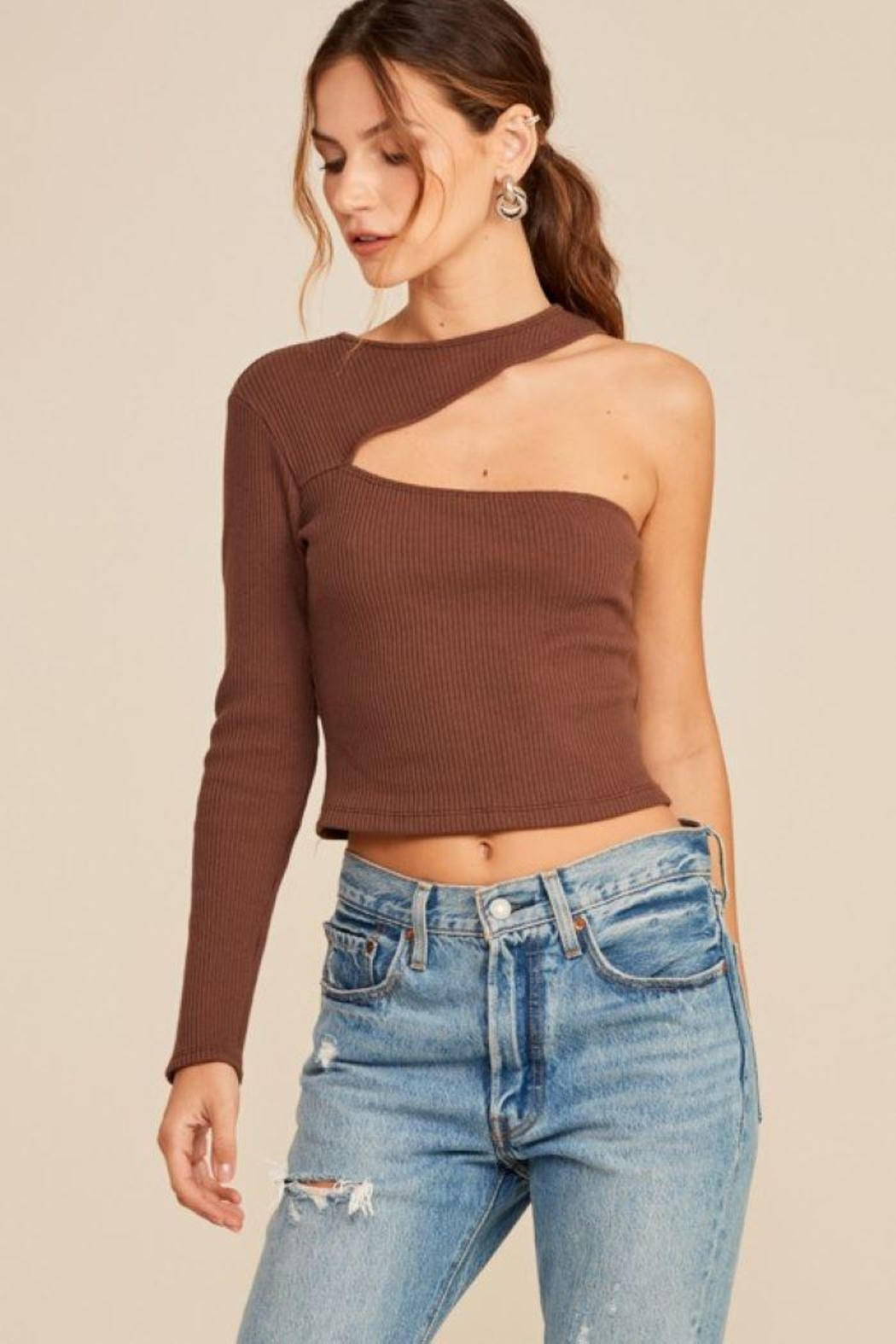 Lush One Shoulder Knit Top - Front Full Image