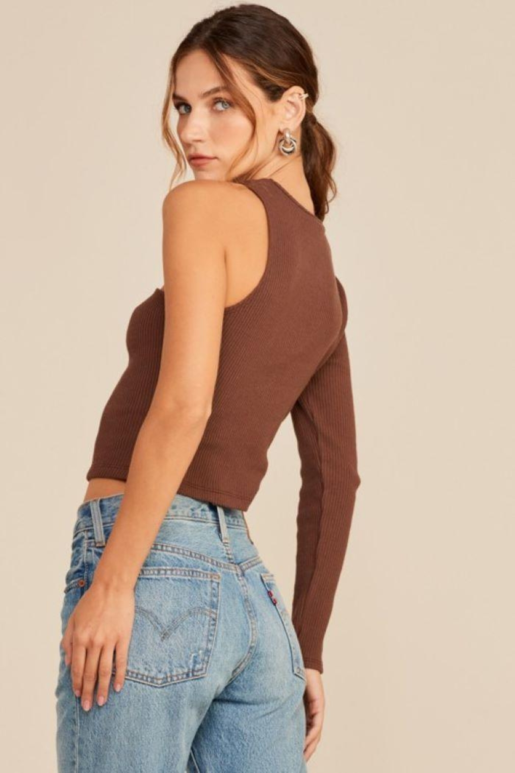 Lush One Shoulder Knit Top - Side Cropped Image