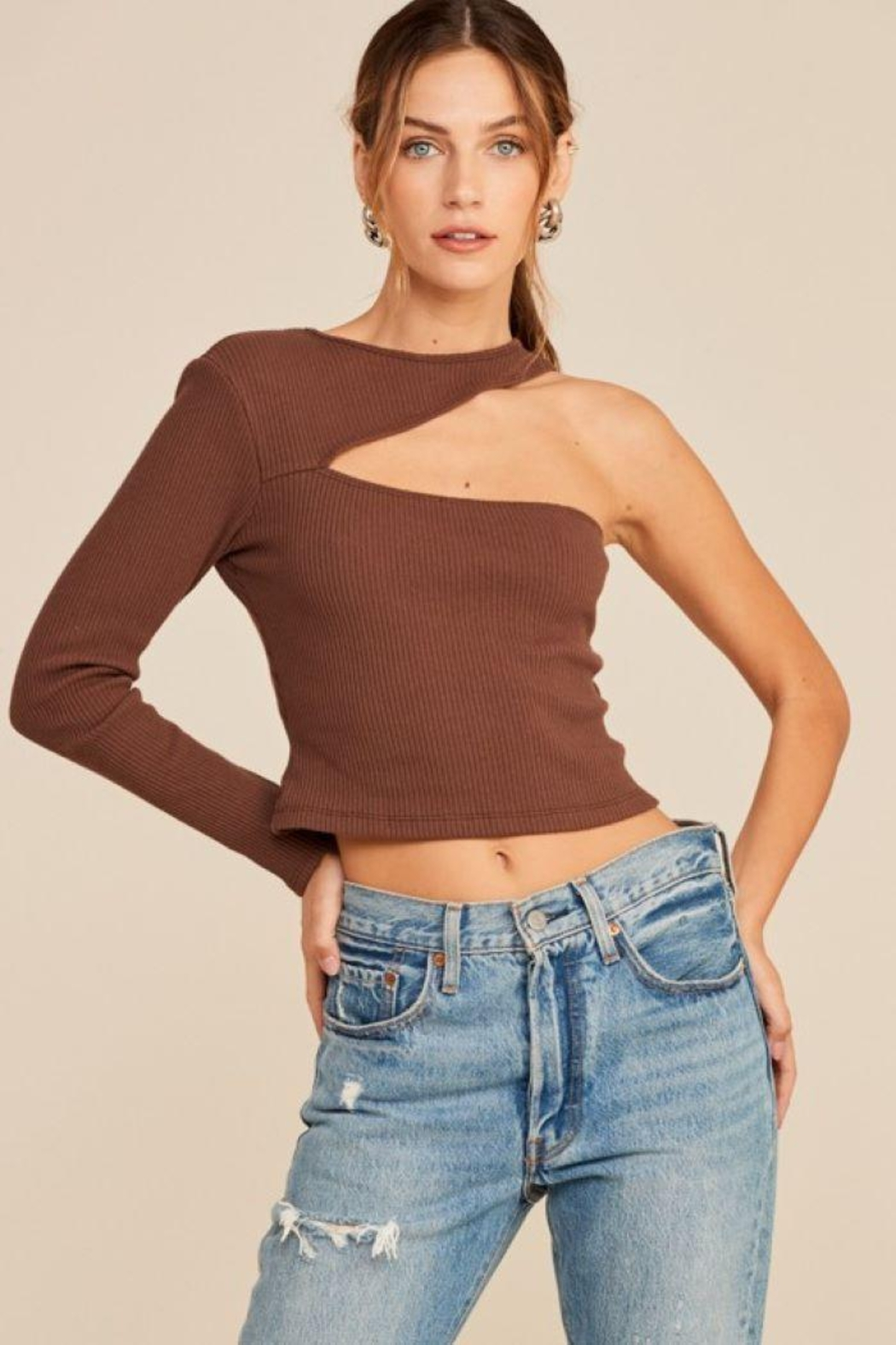 Lush One Shoulder Knit Top - Front Cropped Image