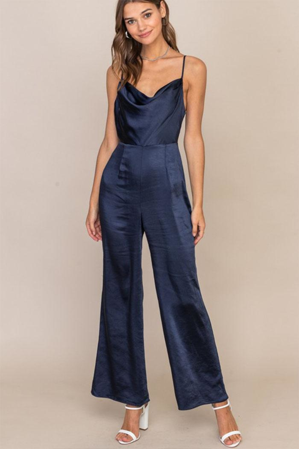 Lush Open Back Jumpsuit - Front Cropped Image