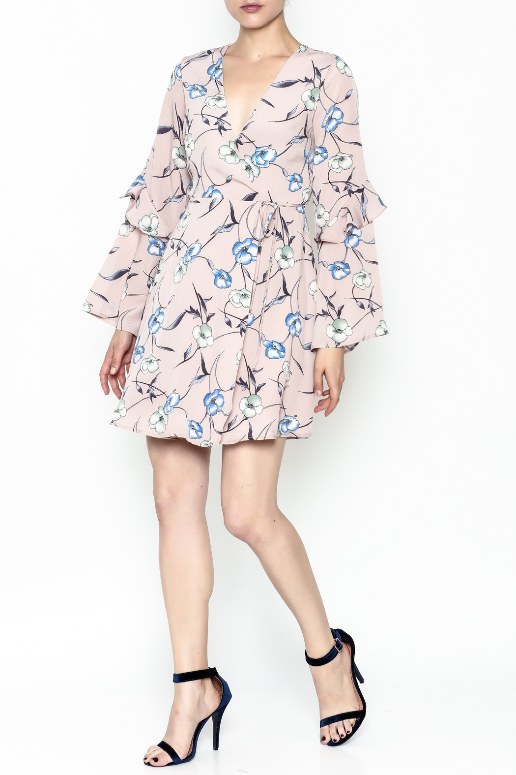 Lush Pale Pink Floral Dress - Side Cropped Image