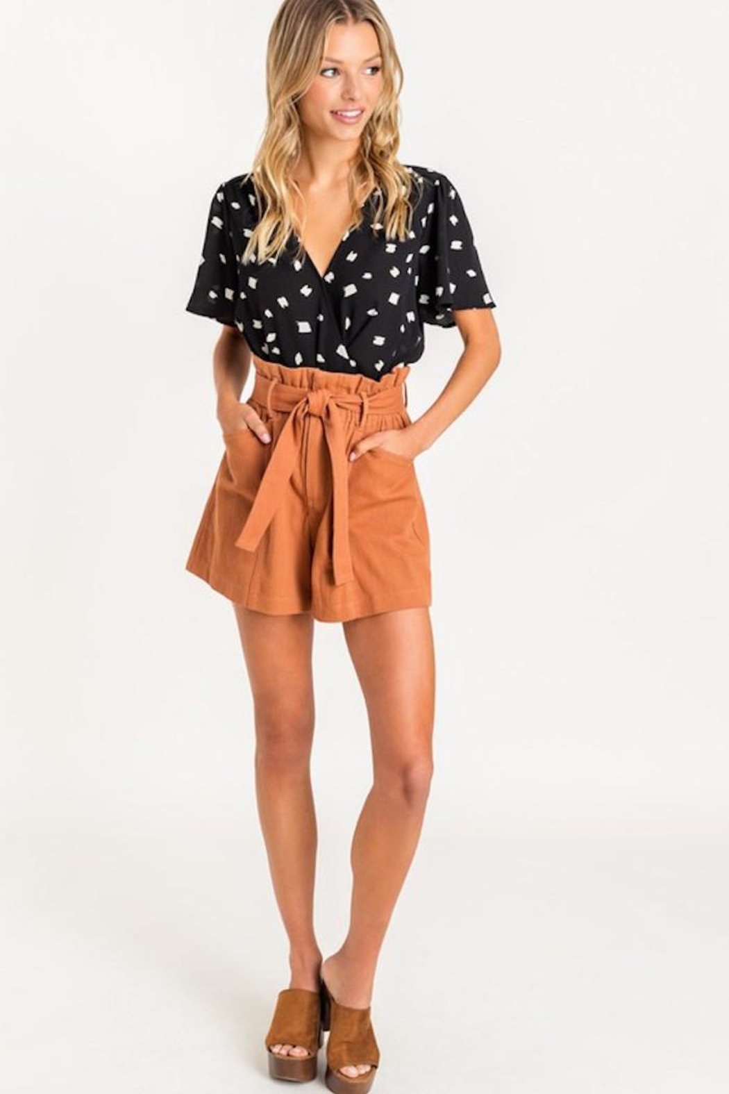 Lush Paper Bag Shorts - Front Cropped Image