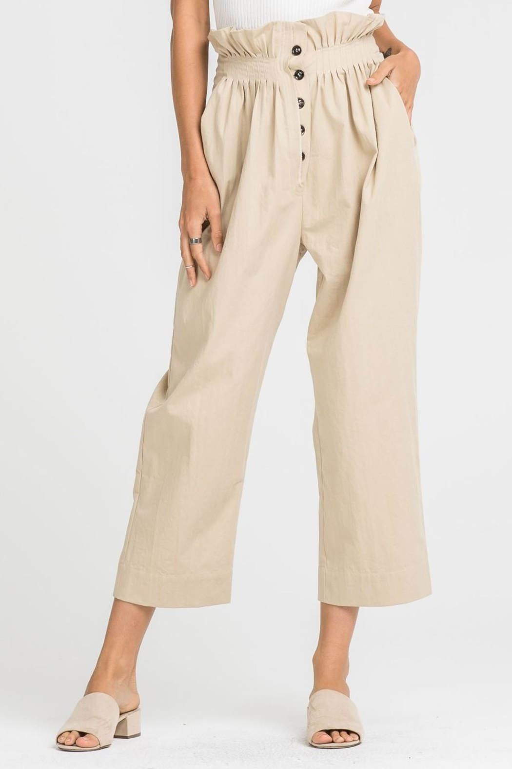 Lush Paper-Bag Waist Pants - Front Full Image