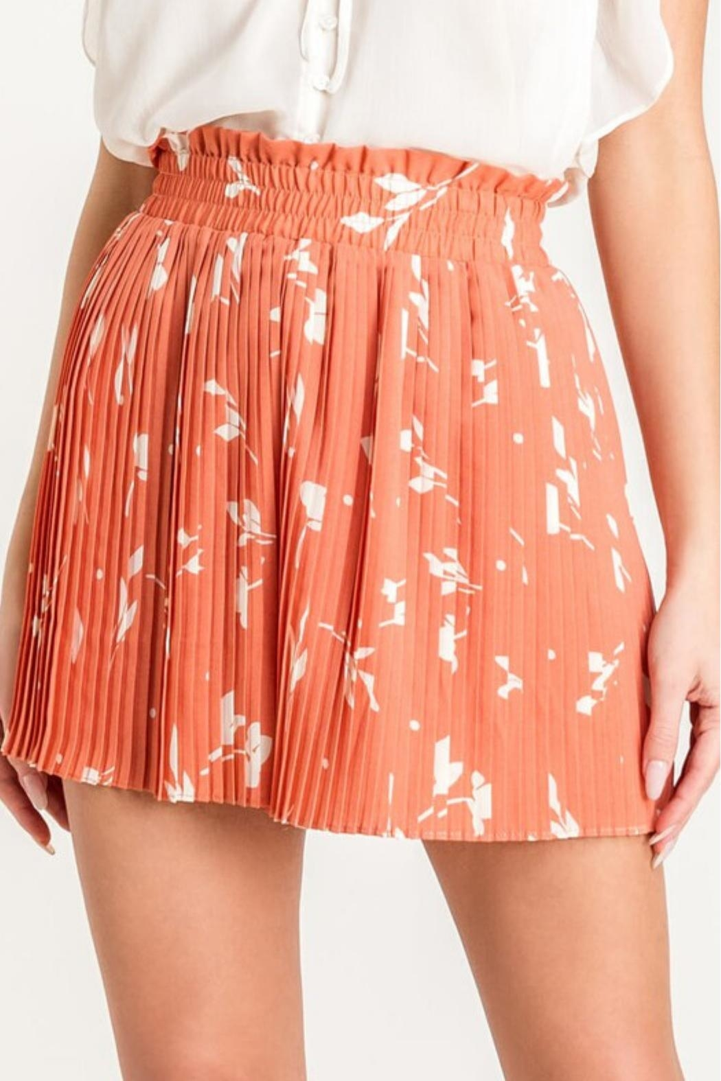 Lush Pleated Cocktail Shorts - Front Full Image
