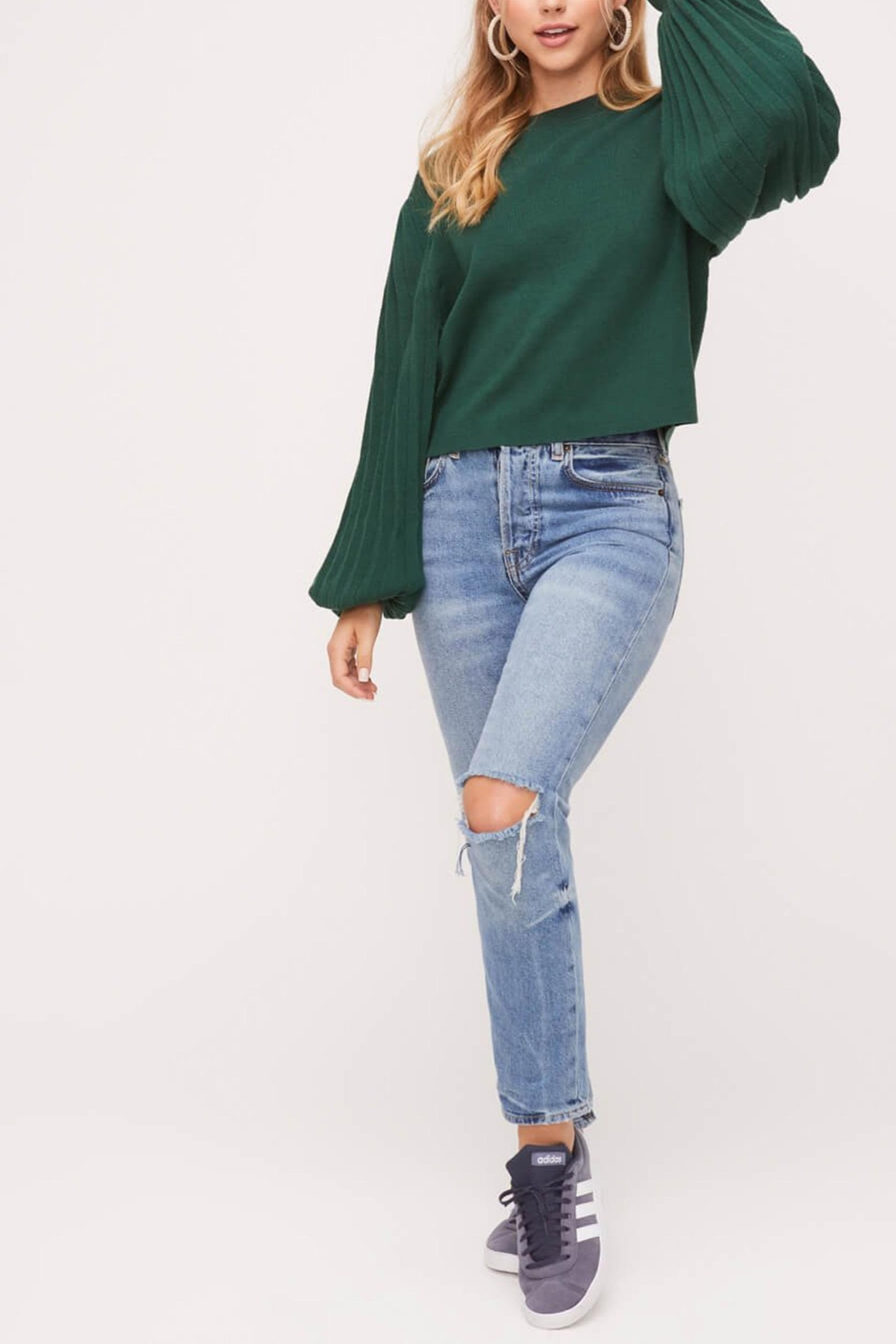 Lush Pleated-Sleeve Crewneck-Pullover Sweater - Side Cropped Image