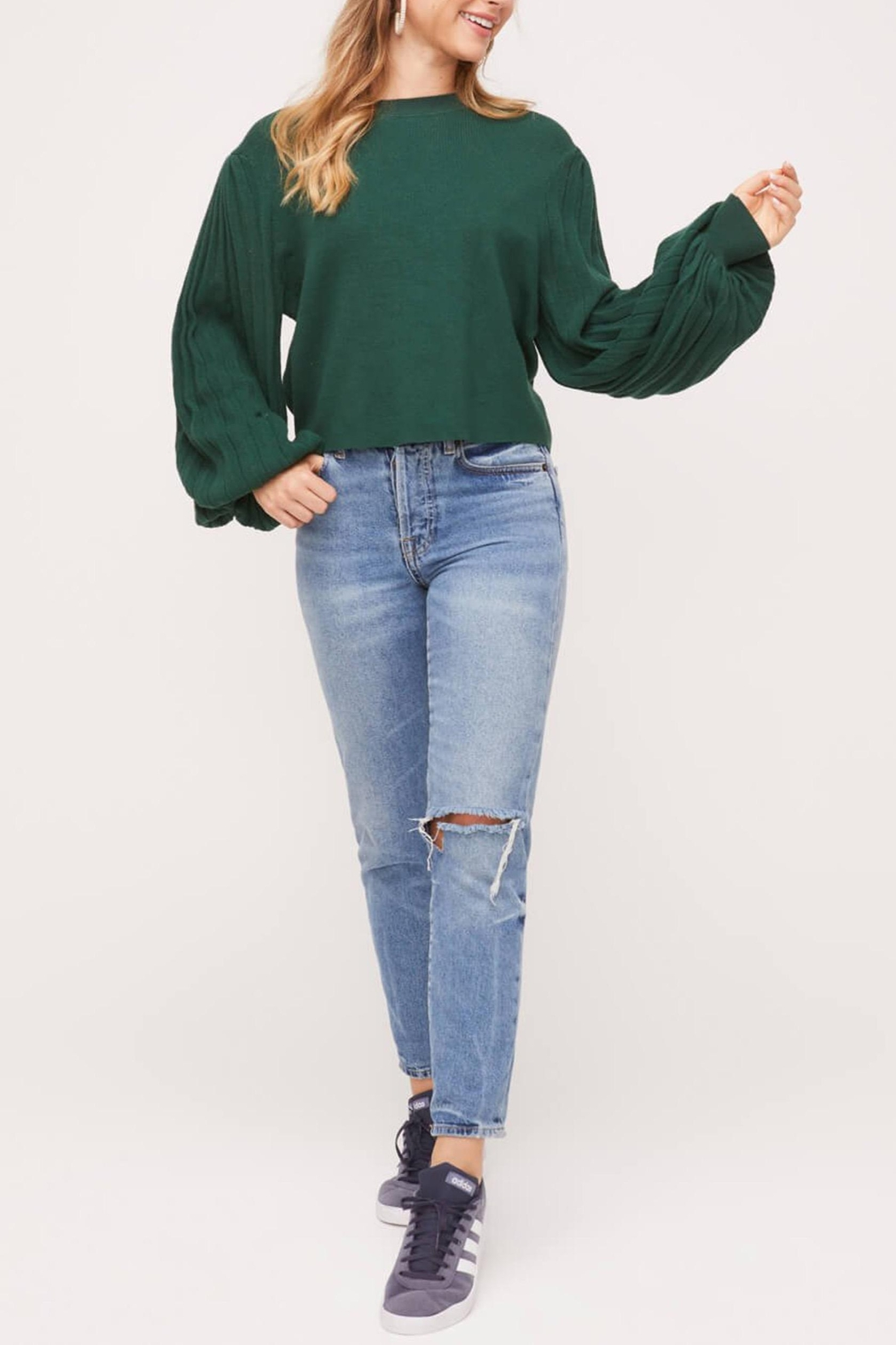Lush Pleated-Sleeve Crewneck-Pullover Sweater - Front Full Image