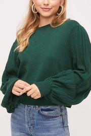 Lush Pleated-Sleeve Crewneck-Pullover Sweater - Front cropped