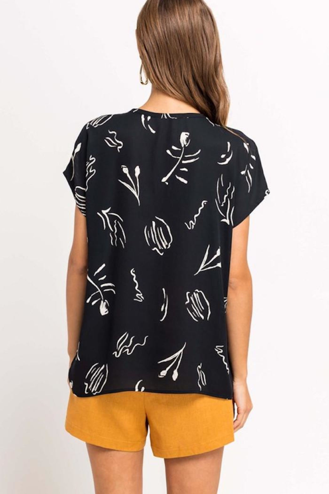 Lush Printed Beauty Top - Back Cropped Image