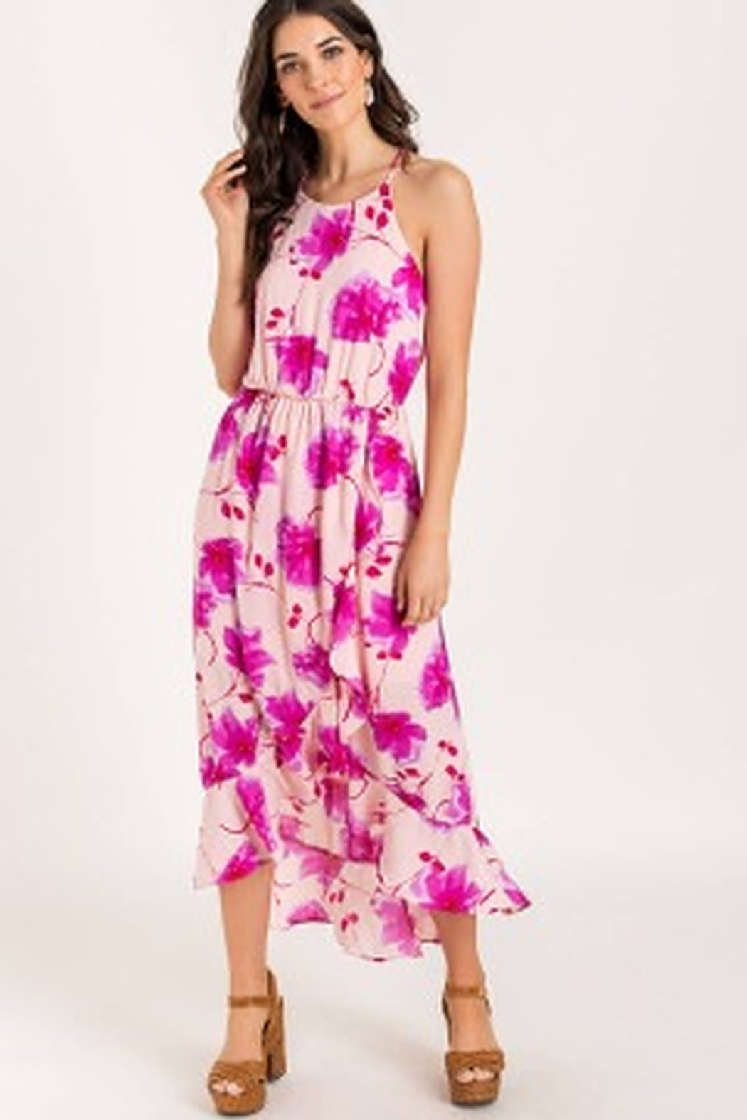 Lush  Printed Floral High-low Cocktail Dress - Main Image