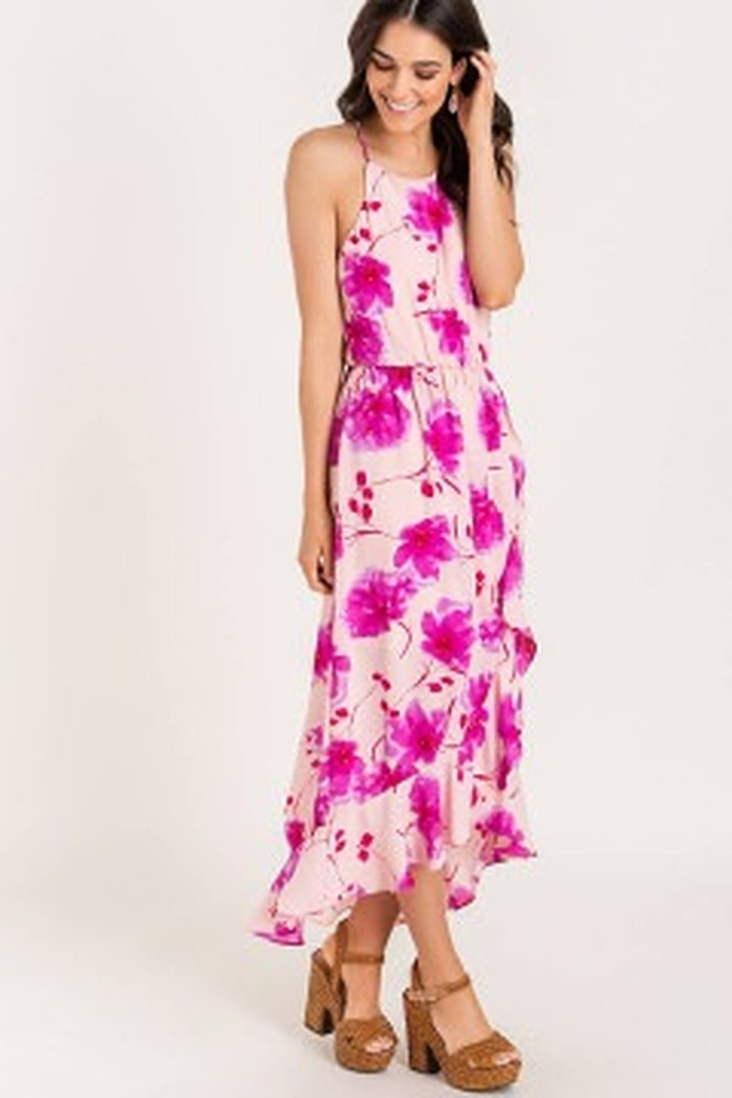 Lush  Printed Floral High-low Cocktail Dress - Front Full Image