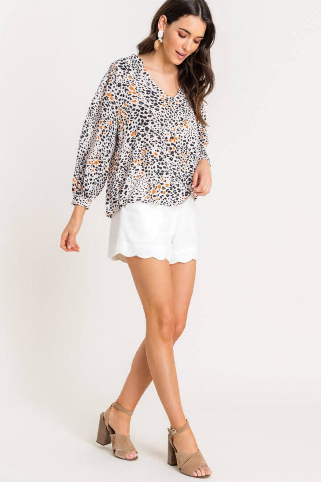 Lush Printed Quarter-Sleeve Blouse - Side Cropped Image