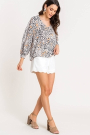 Lush Printed Quarter-Sleeve Blouse - Side cropped