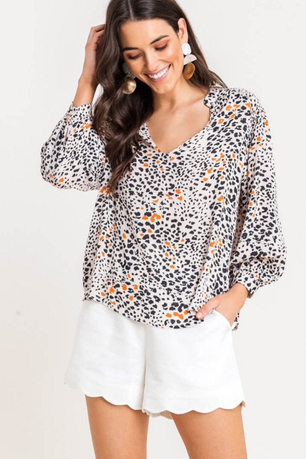 Lush Printed Quarter-Sleeve Blouse - Front Cropped Image