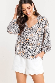Lush Printed Quarter-Sleeve Blouse - Front cropped
