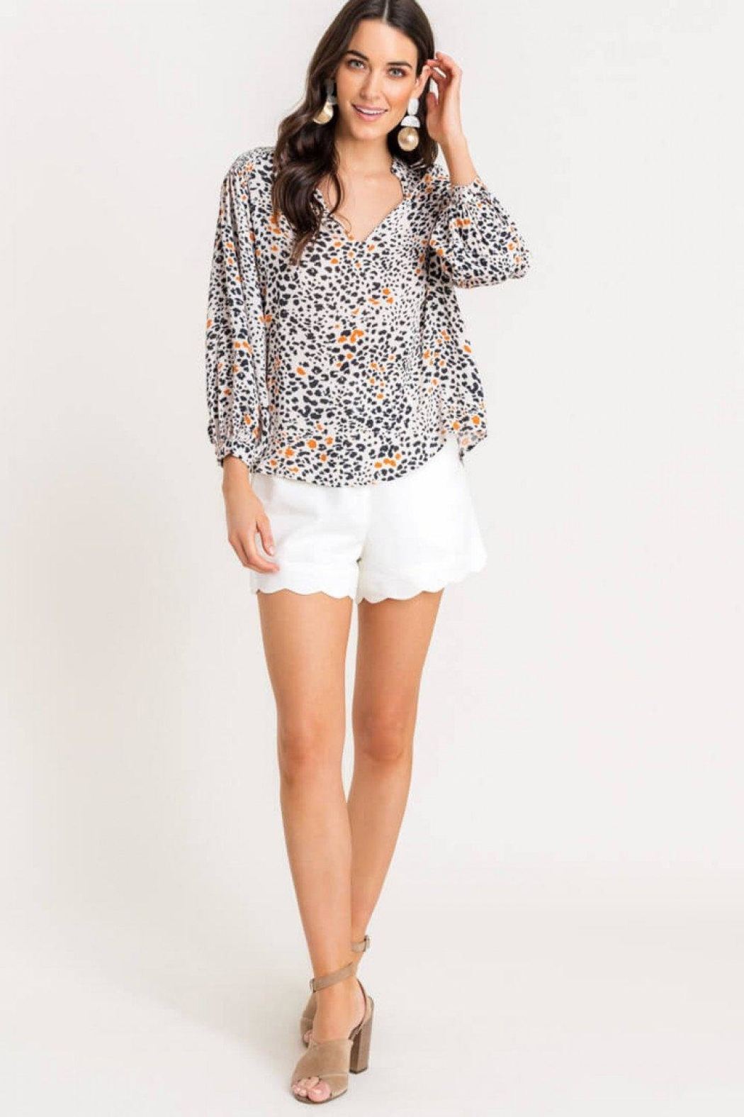 Lush Printed Quarter-Sleeve Blouse - Front Full Image