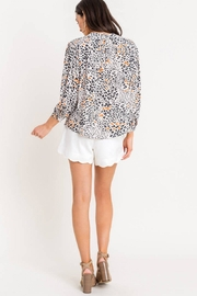 Lush Printed Quarter-Sleeve Blouse - Back cropped