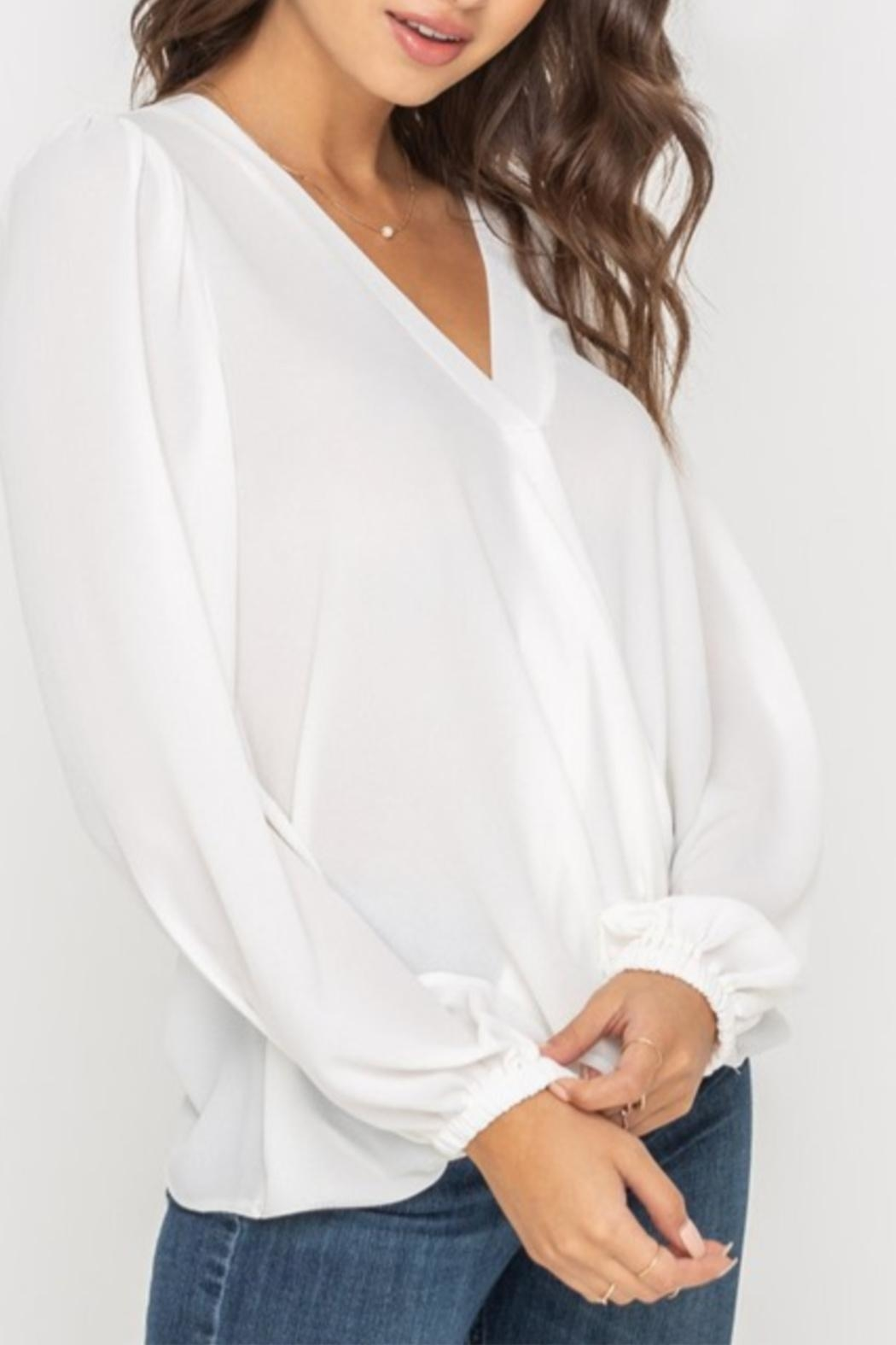 Lush Puff Shoulder Blouse - Front Cropped Image
